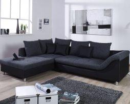 hoeksalon-dezi-zwart-bedfunctie-kussens-stof-lederlook