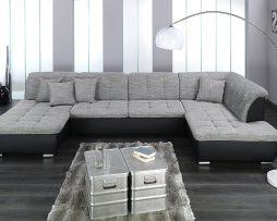 hoeksalon-fabrice-stof-grijs-lederlook-zwart